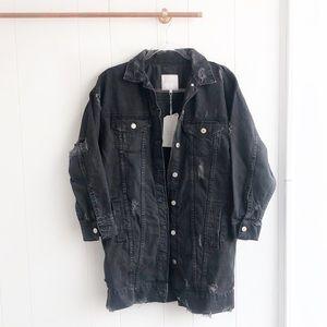 NWT Zara Destroyed Longline Denim Jacket